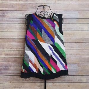 NWOT Calvin Klein M colorful black sleeveless top